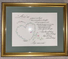 Love Is..Framed Calligraphy Floral Watercolor M Sun's Corinthians 13: 4-8