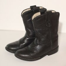 OLD WEST TODDLER  Black Leather COWBOY WESTERN BOOTS Size 7 Boy Or Girl Unisex