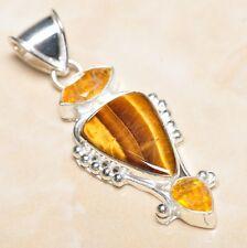 "Handmade Golden Tiger's Eye Gemstone 925 Sterling Silver Pendant 2.25"" #P07555"