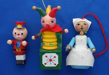 set of 3 wood Christmas figurine ornaments nurse red cross jack in the box toy s
