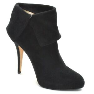 Ladies Enio Silla for Le Silla Cuffed Booties 36 / 6 Black Suede Boots Shoes New