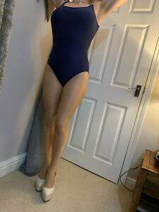 Speedo Blue Spandex One Piece Swimsuit Costume Swimwear Swim Suit Uk 12-14