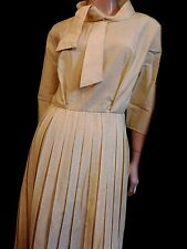 PUR VINTAGE 60 ROBE PLISSEE JAUNE  COL CRAVATE  38/40/ YELLOW DRESS