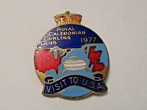 RARE VINTAGE 1977 ROYAL CALEDONIAN CURLING CLUB VISIT TO USA SPORTS CURLING PIN