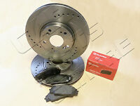 FOR HONDA CIVIC 2.0 TYPE R EP3 FRONT BREMBO BRAKE PADS DRILLED GROOVED DISCS