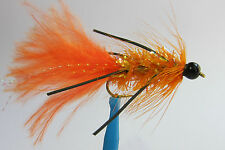 10 x Mouche Streamer Wooly Bugger ORANGE Pattes bille NOIRE H810 fly bead legged