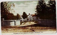 1913 RICHMOND Indiana Ind Postcard REID MEMORIAL HOSPITAL Entrance