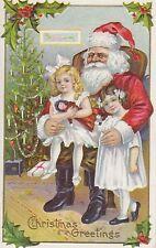 Christmas Greetings Santa 2 girls tree toys 6821