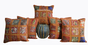 """Zari Work Indian Traditional Cotton Square Cushion Cover 16"""" Set-5 Pillow Cover"""