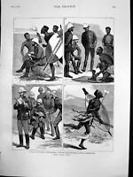 Original Old Antique Print Zulu War Sketch Graphic Post Letters Home Baby 1879