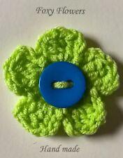 Foxy Flowers Hand Crochet Lime Green Flower Blue Button - 8cm - Corsage/Brooch