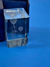 3 D Laser Etched Crystal Glass Paper Weight Florida Souvenir Lighthouse Palms