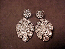 Carolee Art Deco Style Rhinestone Earrings Dangle Super Sparkle Pierced Signed