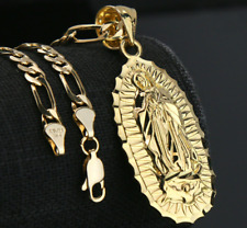 """Collar Para Hombre Oro 14k Chapado Cadena Figaro Guadalupe Colgante Hip Hop 18"""""""