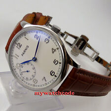 parnis white dial blue hands deployment clasp hand winding 6497 mens watch P28