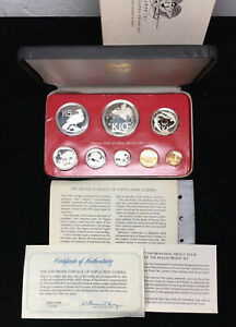 1979 PAPAU NEW GUINEA PROOF SET w BOX & COA - 8 COIN SET w SILVER - MINTAGE 2728