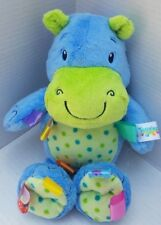 Taggies Plush Blue Hippo Rhino Baby Security Blanket Polka Dot Soft Toy Dog Fish