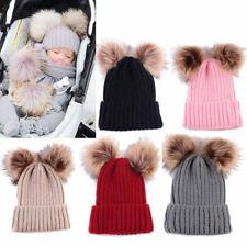 bébé nouveau-né garçon fille chaud hiver Bonnet tricot double pompon