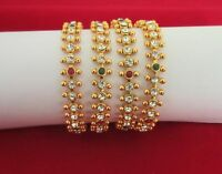 Indian Traditional Bollywood Bridal GoldTone Rhinestone Fashion Jewelry Bangles