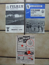 3 x Fulham Home Football Programmes  Div 1/League Cup/FA Cup - 1960s/1970s Lot 2