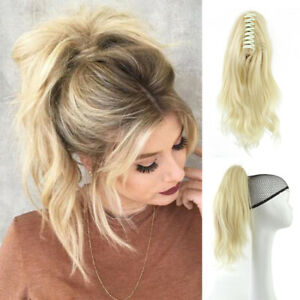 """10""""12""""15"""" Body Wave 100% Remy human hair extension  Jaw Claw Clip in Ponytail"""