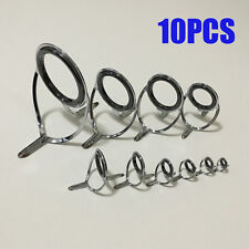 10Pcs Set Ceramic Ring Eyes Repair Fishing Rod Guides Tips Tangle Free Stainless