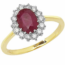 Engagement Cluster Ruby Yellow Gold Fine Rings