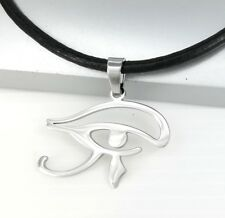 Silver Egypt Eye of Horus Wadjet Udjat Pendant Women Mens Black Leather Necklace