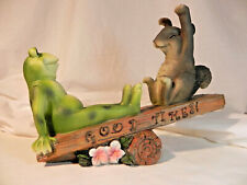 Adorable Cute Frog & Squirrel Decoration Outdoor Nature yard ornament of plastic