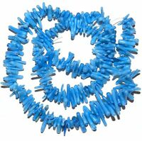 CRL119 Bright Blue Small 6mm - 10mm Bamboo Coral Cupolini Branch Beads 15""