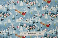 Christmas Holiday Santa Scenic with Silver Glitter Cotton Fabric  BTY  (A) <