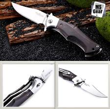 Brother 1602 Folding Hunting Knife Liner Lock Wood Handle 440C Blade Pocket Clip