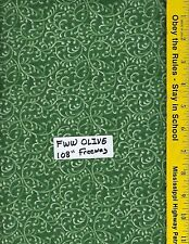 "FWW OLIVE,  108"" EXTRA WIDE QUILT BACKING BTY 100% COTTON FREE WAY OLIVE GREEN"
