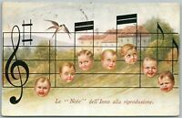MULTIPLE BABIES MUSIC NOTES ITALIAN ANTIQUE POSTCARD w/ STAMPS