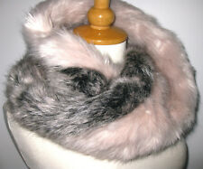 Shaggy PINK MINK FAUX FOX FUR COLLAR TWIST WRAP Eternal SCARF TIPPET HOOD COWL