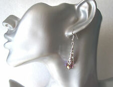 Elegant Faceted Glass and Long Silver Bead Cap Dangly Earrings - Clip-on Option