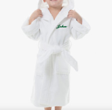 Personalized Hooded Terry Cloth Bathrobe | Unisex | Kid's Sizes | Script