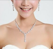 Beautiful Necklace and Earrings set Crystal Silver Plated