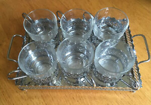 Duralex Glass & Silver Plate 6 Cup Coffee Set with Tray - French 1970s VGC