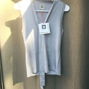 ANNE KLEIN Women's Cambon Gray Tie-front Sweater Tank Shirt Top Size XS NWT