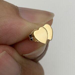 14K FINE GOLD SINGLE 8MM HEART EARRING STUD WITH BUTTERFLY BACKING