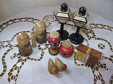 Vintage Salt and Pepper Shakers Wood 5 Sets San Francisco Outhouses Ducks Mexico