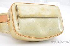 Auth Louis Vuitton Vernis Fulton Pouch Bum Bag Lime Yellow M91043 LV 35378