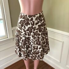 de2943c626 Boden Women s Skirt Linen Lined Off White Brown Floral Print Size 8 R