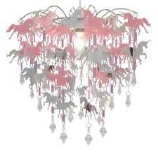 Unicorn Chandelier Pink Ceiling Light Children Kids Bedroom Pendant Lamp Shade