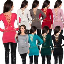 Damen Feinstrick Pullover Pulli Sweater Schnürung Satin Band Lurex sexy S 34 36