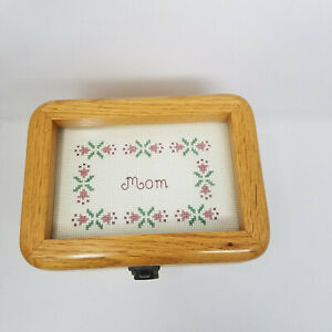 Vintage Wood Glass Jewelry Trinket Keepsake MOM Retro Box