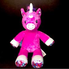 "Build A Bear Hot Pink Rainbow Candy Hearts Unicorn Sparkly 16"" Stuffed Plush"