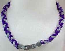"New! 20"" Custom Clasp Braided Sports Purple Gray Grey Tornado Necklace Twisted"