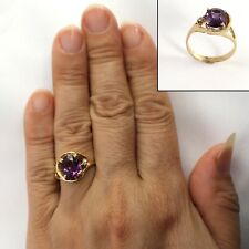 Genuine Amethyst & Diamond 14k Yellow Gold Ring TPJ